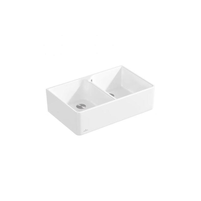 Villeroy & Boch VB Spülstein Doppelbecken 80 X 638001 795x220x500mm Rechteck Stone White C+ 638001RW