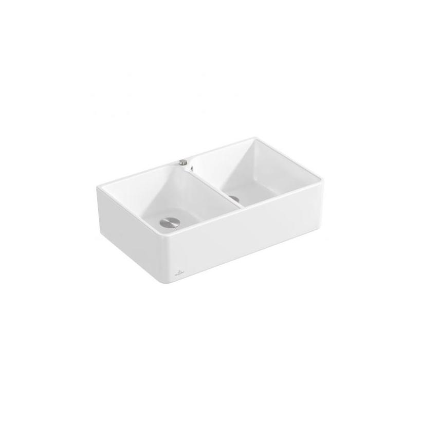 Villeroy & Boch VB Spülstein Doppelbecken 80 X 638002 795x220x500mm Rechteck Stone White C+ 638002RW
