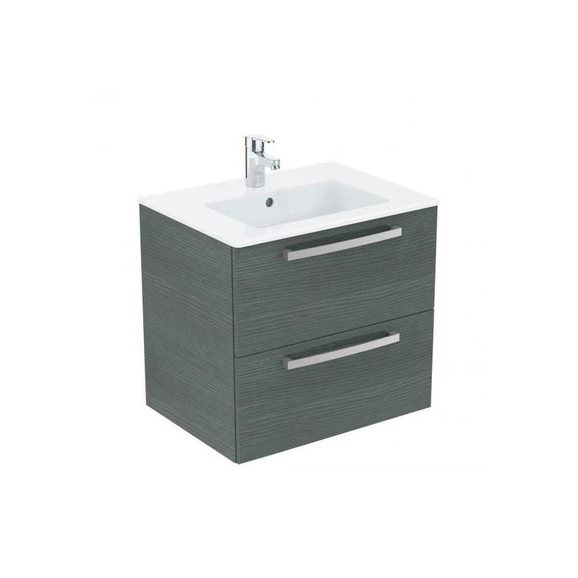 Ideal-Standard/Comfort Id.St. Eurovit Waschtisch/Möbel-Paket 610x450x565mm, weiß/Eiche anthrazit K2979SG