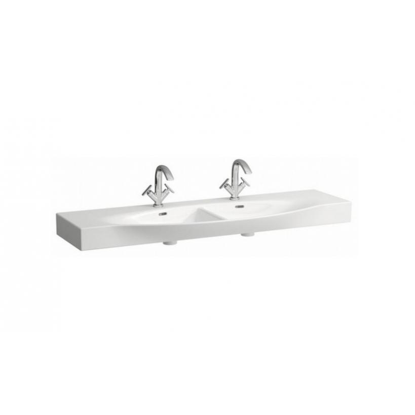 Laufen Palace Doppelwaschtisch 150x51cm mit Hahnloch und Überlauf, weiß 8137060001041