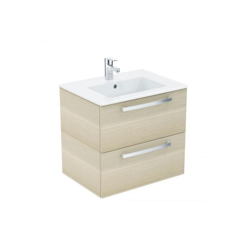 Ideal-Standard/Comfort Id.St. Eurovit Waschtisch/Möbel-Paket 815x450x565mm, weiß/Eiche anthrazit K2978SG