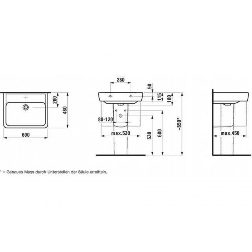 Laufen Waschtisch Pro-Clinic 1895.2 60x48cm o.Hahnloch weiss Ausf.142 8189520001421