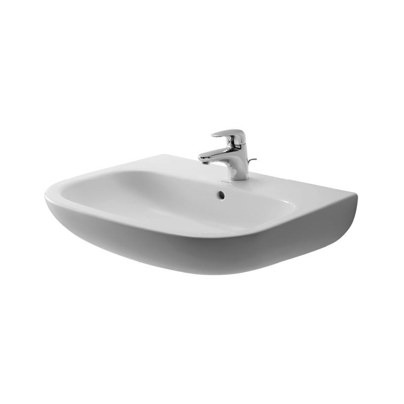 Duravit Waschtisch 650mm D-Code Weiß mit ÜL, mit HLB, 1 HL 23106500002