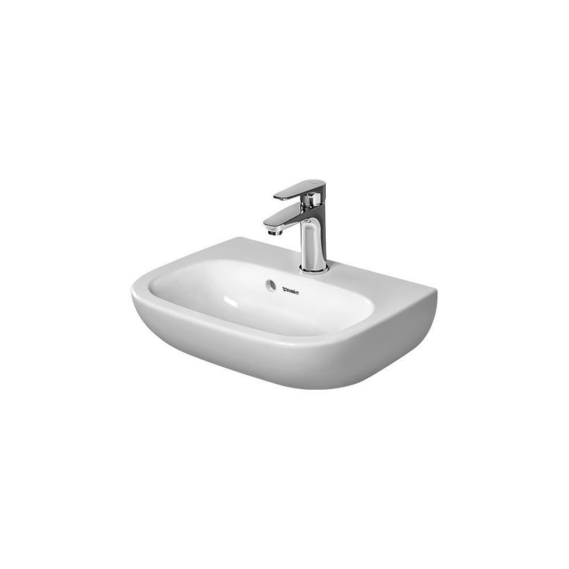 Duravit Handwaschbecken 450mm D-Code Weiß mit ÜL, mit HLB, 1 HL 07054500002