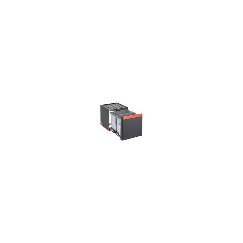 Franke Deutschland Franke Cube 40 Mülltrennung 3-fach mit Automatikauszug, grau, 1x14l, 2x7l 1340039331