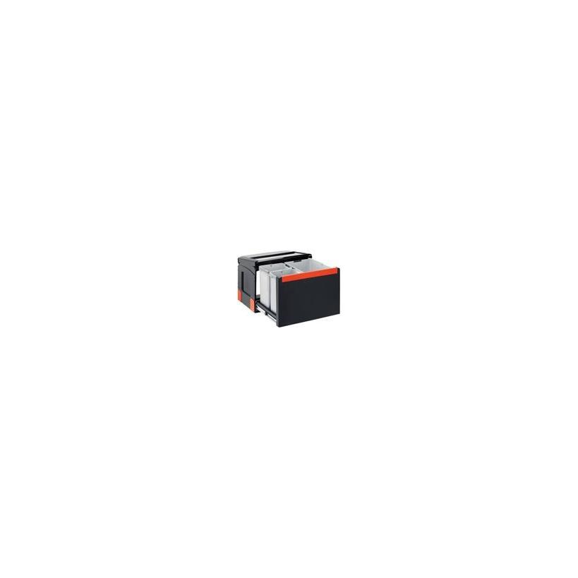 Franke Deutschland Franke Cube 50 Mülltrennung 3-fach mit Handauszug, schwarz, 1x14l, 2x7l 1340055291