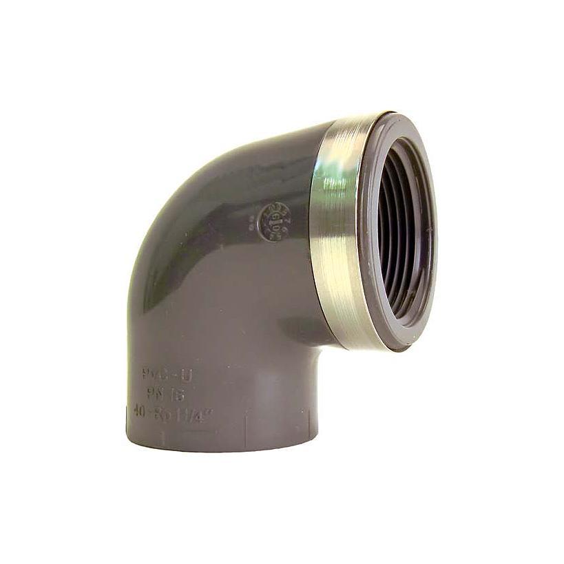 GF Rohr vormals JRG GF721100206 PVC-U Winkel 90° d 20, Rp 1/2 PN16, metrisch-Rp 721100206