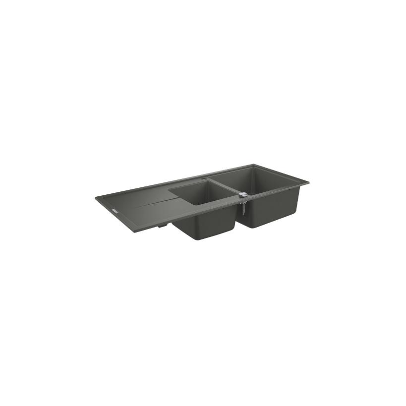 Grohe Kompositspüle K400 31643 2 Becken 1160x500mm mit ATF re/li granit schwarz 31643AP0