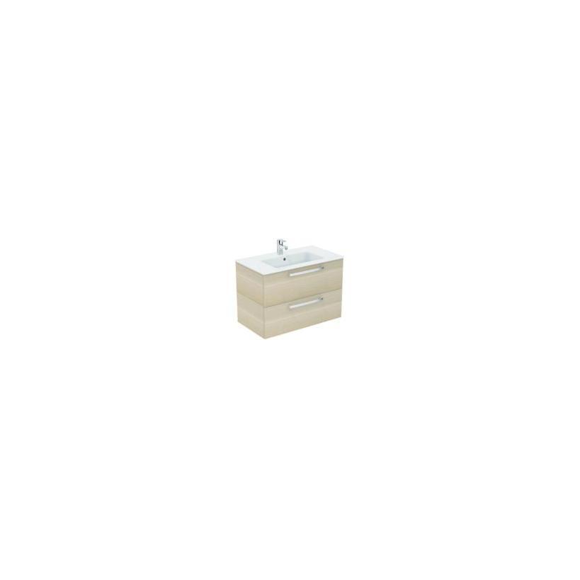 Ideal-Standard/Comfort Id.St. Eurovit Waschtisch/Möbel-Paket 815x450x565mm, weiß/Eiche hell K2978OS
