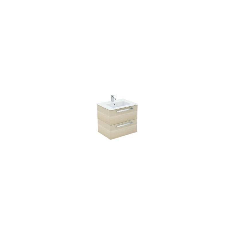 Ideal-Standard/Comfort Id.St. Eurovit Waschtisch/Möbel-Paket 610x450x565mm, weiß/Eiche hell K2979OS