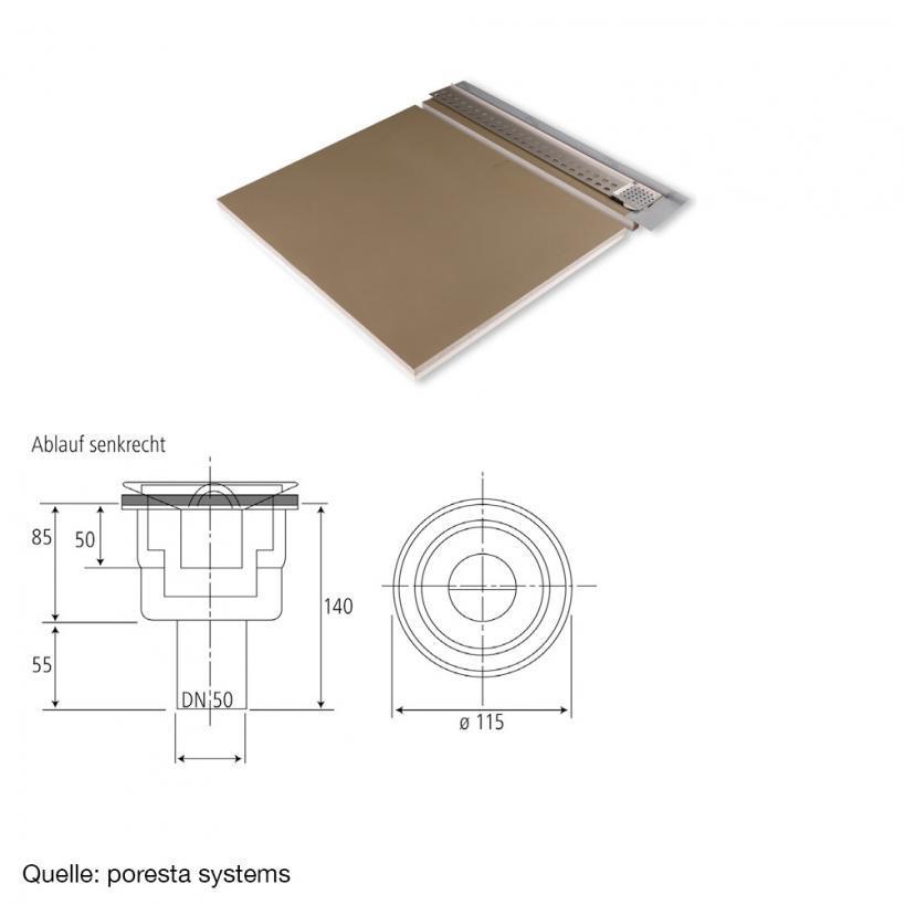 Poresta Systems Österreich Poresta Duschsystem Slot S 12mm Ablauf senkrecht 2000x1200x60mm, links 20001410