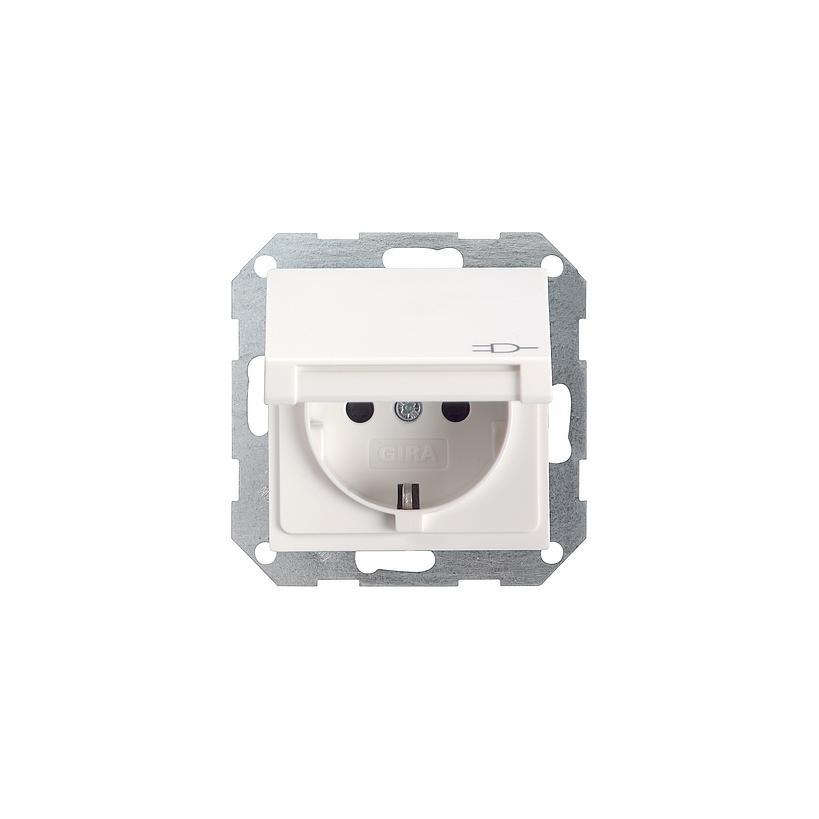 SCHUKO Steckdose mit Klappdeckel System 55 reinweiß glänzend 045403