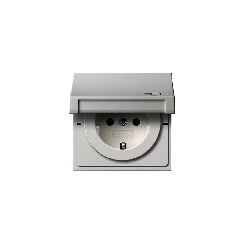 SCHUKO Steckdose mit Klappdeckel Flächenschalter, reinweiß glänzend 0454112