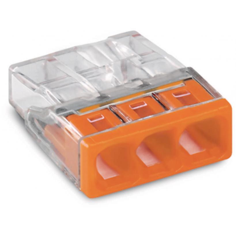 COMPACT Verbindungsdosenklemme 3-polig max. 2,5 mm², transparent/orange 2273-203 100 Stück