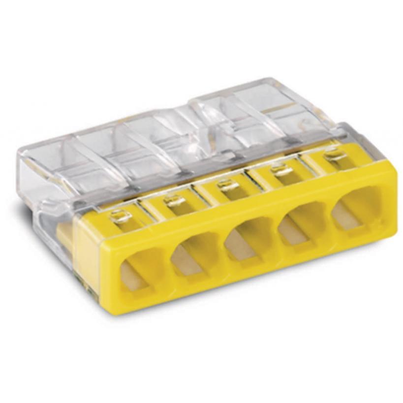 COMPACT Verbindungsdosenklemme 5-polig max. 2,5 mm², transparent/gelb 2273-205 100 Stück
