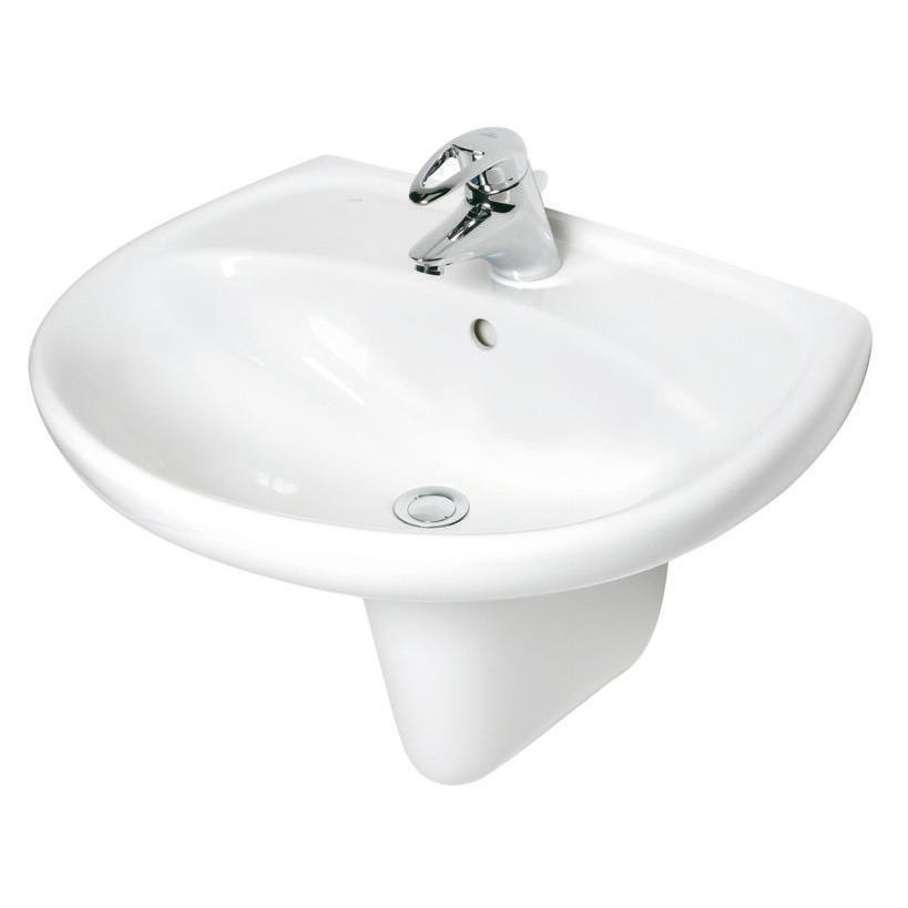 NoBrand Alva Aqua Una Waschtisch 55x45cm mit Hahnloch, Weiß 8.1427.1.000.104.5