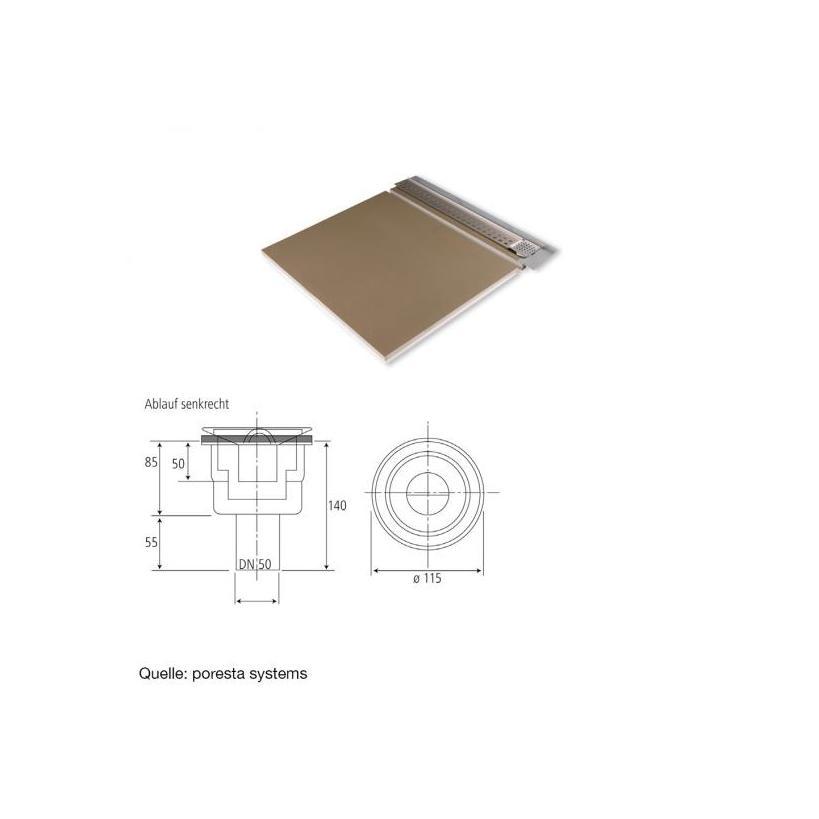 Poresta Systems Österreich Poresta Duschsystem Slot S 12mm Ablauf senkrecht 1200x1200x60mm, links 20001402